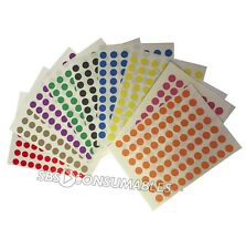 1680 Self Adhesive 8mm Dots. 8 Colours. Sticky Circle Labels. Craft Stickers.