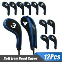 12Pcs/Set Golf Clubs Iron Head Covers Headcovers with Zipper Long Neck Hot P9Q4W