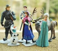 6 Pcs Frozen Cake Toppers Figures Disney Elsa Anna Sven Kristoff Olaf Hans Uk
