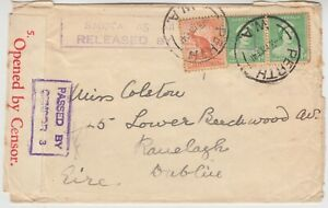 AUSTRALIA 1941 DOUBLE CENSORED cover *PERTH-DUBLIN IRELAND* with IRISH censor
