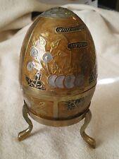 Cloisonne Enamel & Brass 2 Piece Egg Trinket Box w/Stand, India