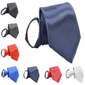 Men Classic Solid Color 8CM Wide Zipper Neckties Pre-tied Wedding Party Ties