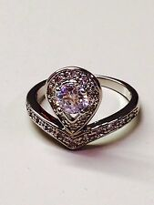 Victoria Wieck Unique Topaz 10KT White Gold filled ring  size 8.5