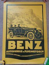 Vintage Mercedes Benz 1920 Reprint Flugmotoren Mannheim Poster 24 x 33 Cabriolet