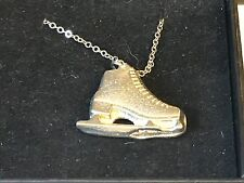 "Ice Skate TG108 Pewter On 18"" Silver Plated Curb Necklace"