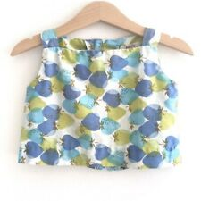 Vintage Liberty House Toddler Girls Strawberry Blue Green Top Baby Summer