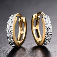 18k Gold Filled Topaz CZ Crystal Engagement Stunning Anique Hoop Earrings