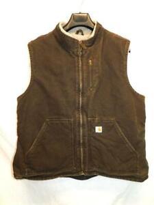 Carhartt XXL 2X 20 Womens Brown Sandstone Mock Neck Vest Sherpa Lined Coat Zip