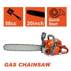 New 20'' Gas Chainsaw 58cc Wood Cuttiing Crankcase Gasoline Aluminum Chain Saw