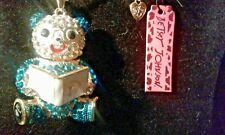 Betsey Johnson Crystal & Enamel Book Bear Pendant Charm Necklace-Free Gift Box