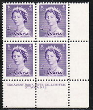 CANADA #328 4¢ Queen Elizabeth II Karsh Issue LR Plate #2 Block MNH