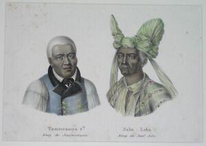 1840 RARE NICE ORIGINAL MAP HAWAII SANDWICH ISLANDS / INDONESIA portrait's