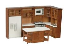 Dolls House Modern Walnut Fitted Kitchen Furniture Set Miniature Wooden 1:12