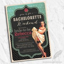 Rockabilly Pinup Bachelorette Party Invitations / Set of 10 Printed