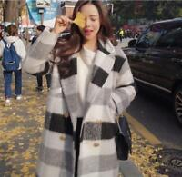 New Womens Korean Wool Blend Plaid Lapel Long Jacket Double Breasted Trench Coat
