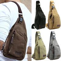 Men's Canvas Military Messenger Shoulder Travel Hiking Bag Crossbody Backpack
