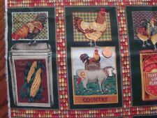 """Fabric Piece 44"""" x 35""""+ Chickens Cow Pig Corn Squares Country Novelty Rooster"""