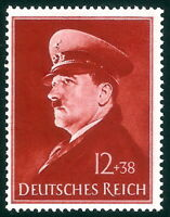 DR Nazi 3Reich Rare WW2 Stamp '1941 Hitler Head Fuhrer Birthday Swastika Uniform