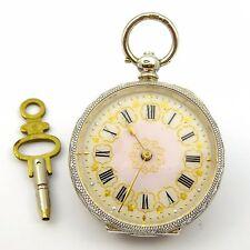 Fancy Pink Enamel & Gold Dial Layby Late 1800s Swiss .935 Silver Pocket Watch