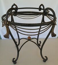 VTG Circular Solid Iron-Ornamental Accent Table☆Gilt Rope &Tassel☆Scroll Design
