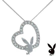925 Sterling Silver Playboy Necklace Bunny Heart Pendant Swarovski Crystal Chain