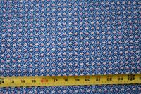 By 1/2 Yd, Vintage, Pink & Cream Calico on Blue Quilt Cotton, B1237