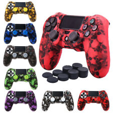 Soft Case Skin Grip Cover For PlayStation 4 PS4 Controller + 8 Thumbstick Caps