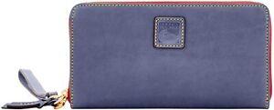Dooney & Bourke Womens Blue Florentin Leather Zip Around Wristlet Wallet  8827-2