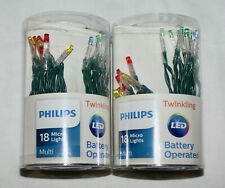 (2) NEW Philips Battery Operated Micro Lights Multi TWINKLING LED Green Wire