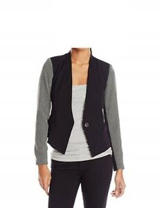 XOXO Juniors Blazer Sz M Black White Patterned Sleeve Business Casual Jacket