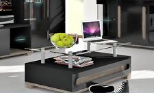 Lorenz High Gloss Black Coffee Tea Table With Glass Top Lounge Games Table