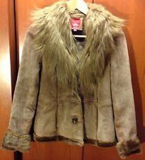 Esprit Tan Brown Leather Suede Fur Trim Winter Coat Jacket Women's Large
