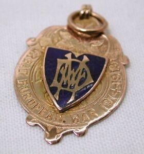 9 Carat Rose Gold And Enamel Great European War Medal Fob / Pendant