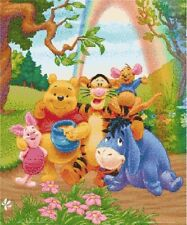 Winnie the pooh and friends cross stitch kit with glitter threads
