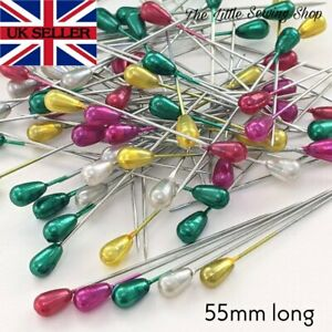 55mm Long Pearl Headed Pins Florists Sewing Knitting 6 Colours Pack of 15