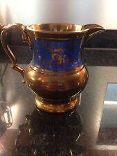 Antique Copper Lustre Jug With Staffordshire Blue