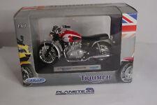 """Welly Modello Moto 1:18 2002 TRIUMPH BONNEVILLE t100 ROSSO 4.3/"""" Nuovo E Box"""