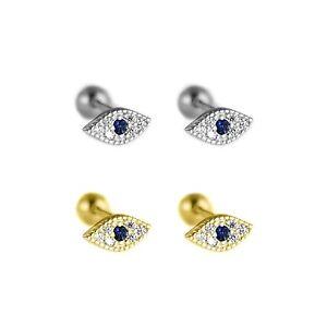 Sterling Silver Evil Eye Blue White CZ Barbell Bead Ball Screw Back Earrings