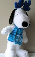 Snoopy Christmas Figurine Peanuts Plush Porch Sitter Greeter Reindeer Blue 23""