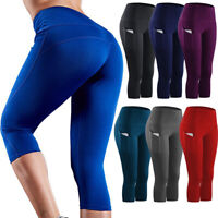 Women Capri High Waist Yoga Leggings Pocket Fitness Sport Gym Workout Pants X426