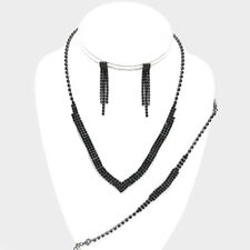 Black bridal diamante necklace bracelet earring set bling prom party sparkly 531