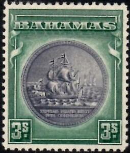 Bahamas 1943  3/- Brownish Black & Green   SG.132a Mint (Lightly Hinged)