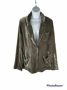 NWT LAmade olive green velvet blazer, silk lining, size Large