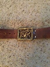 Vintage D'Naz Leather Belt Artsy Metal Buckle, Amazing!
