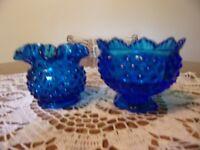 FENTON CANDLE FAIRY LAMP BASE ONLY & ROSE BOWL DARK BLUE HOBNAIL