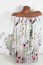 38/40 Traumhafte Seiden Bluse mit Stickerei Blumen Volant gefüttert Weiß