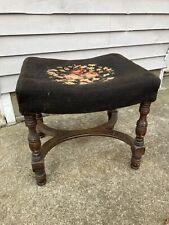 Vintage Needlepoint Piano Bench Vanity Chair Stool Bench Footstool