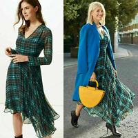 M&S Celeb Holly Willoughby Tartan Check Fit & Flare Asymmetric Midi Dress 6-16