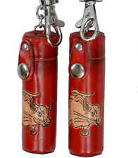A Pair of Leather ChapStick/toothPick Holder, Pill Case.Giant Bull pattern, Red