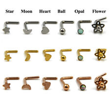 L Shaped 316L Surgical Steel Nose PIN RING STUD BONE NOSE PIERCING Jewelry